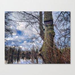 Ingrown Tree Fishing Sign at Tee Lake Canvas Print