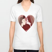lovers V-neck T-shirts featuring Lovers by Pendientera