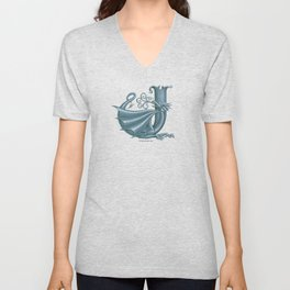 "Dragon Letter J, from ""Dracoserific"", a font full of Dragons Unisex V-Neck"