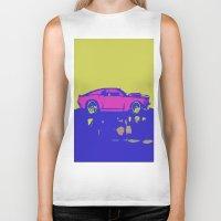mustang Biker Tanks featuring lazer mustang by Crockettsky