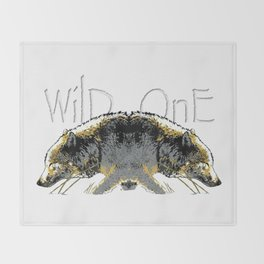 Timber Wolf Wild One Throw Blanket