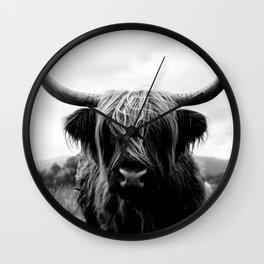 Scottish Highland Cattle Black and White Animal Wall Clock