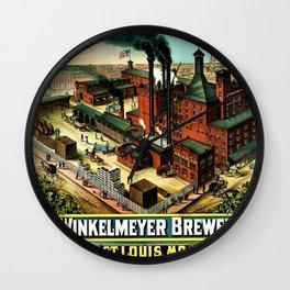 Vintage 1882 Julius Winkelmeyer Brewery St. Louis Lithograph Wall Art Advertisement Art Print Wall Clock