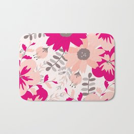 Big Flowers in Hot Pink and Accent Gray Bath Mat