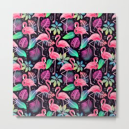 Bright pattern with Pink Flamingos bird and colorful tropical leaves Metal Print