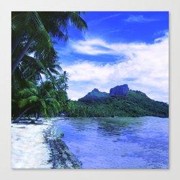 Tropical Paradise Island Beach in French Polynesia Canvas Print