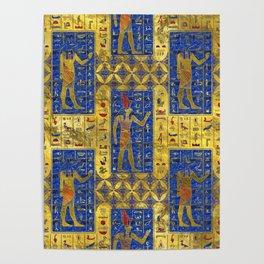 Egyptian  Gold  symbols on Lapis Lazuli Poster