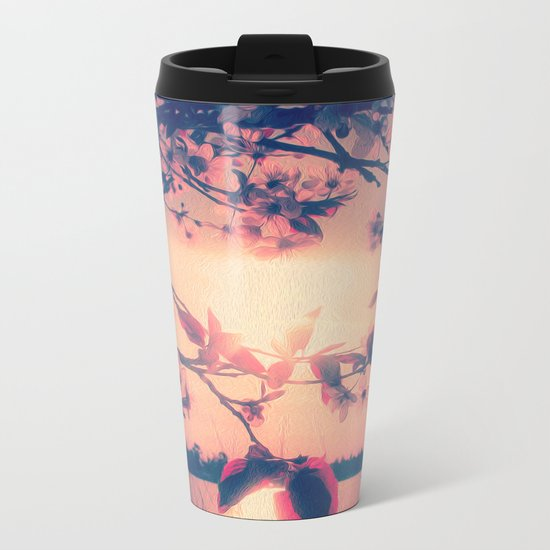 To Love and Be Loved (Spring Pink Cherry Blossoms at Dusk) Metal Travel Mug