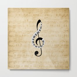 Clef Music Notes Metal Print