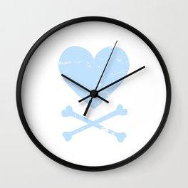 Heart and Crossbones - Blue Wall Clock