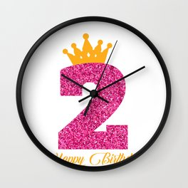 Happy Birthday Girly Princess Pink with Crown with age of 2 Wall Clock