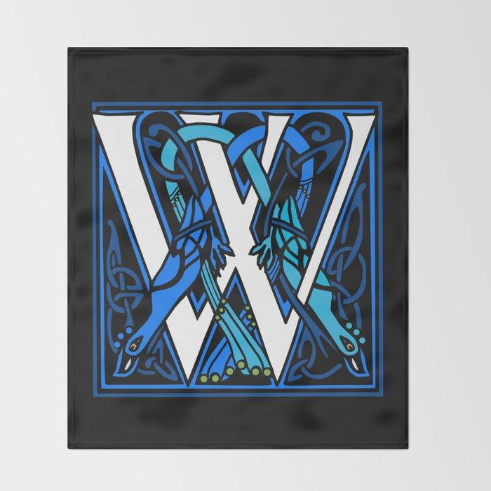 Celtic Peacocks Letter W Throw Blanket