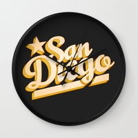san diego Wall Clocks featuring San Diego by GetSolidGold
