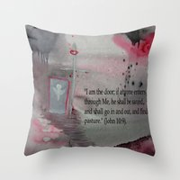 religious Throw Pillows featuring The Door----Religious Abstract Art --- John 10:9 --- by Saribelle Rodriguez by Saribelle Inspirational Art