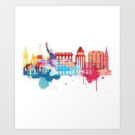 New York Fun Cityscape Watercolor Art Print