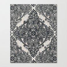 Charcoal Lace Pencil Doodle Canvas Print