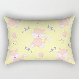 Happy Birthday Orange Fox on Yellow Background Pattern Rectangular Pillow