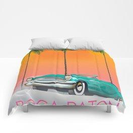 Boca Raton Florida travel poster Comforters