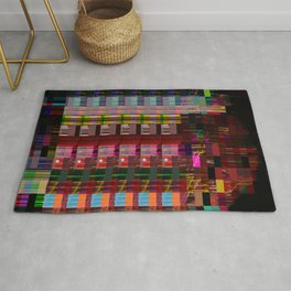 Glitch Abstract Cityscape Rug