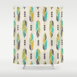 Painted Feathers in a Row-Cream Shower Curtain