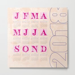 Typographic Calendar 2018 Metal Print