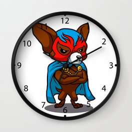Cute dog chihuahua Fighter Lucha Libre Wall Clock