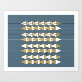 Construction Blue Gold III #kirovair #minimal #minimalism #buyart #design Art Print