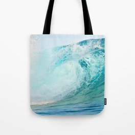 Pacific big surfing wave breaking Tote Bag