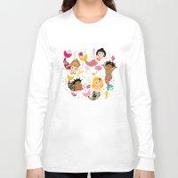 mermaids Long Sleeve T-shirts featuring Mermaids by Helene Michau