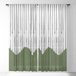 lines and wave (green) Sheer Curtain