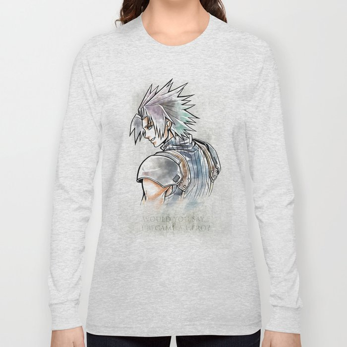 Zack Fair Artwork Final Fantasy Vii Crisis Core Long Sleeve T Shirt By Mcashe Art