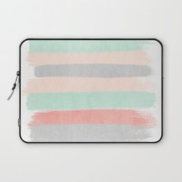Stripes hand painted abstract minimal nursery decor gender neutral palette Laptop Sleeve