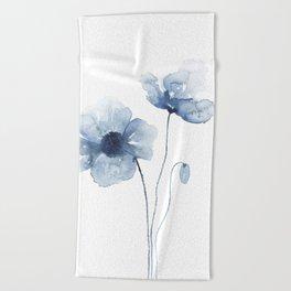 Blue Watercolor Poppies Beach Towel