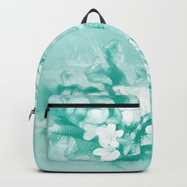 Butterflies and tropical flowers in stunning teal Backpack