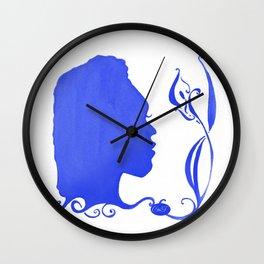 Blue Silhouette & Calla Wall Clock
