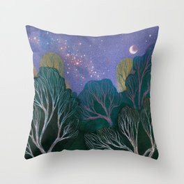 Starlit Woods Throw Pillow