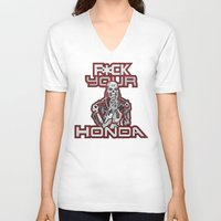 honda V-neck T-shirts featuring F*ck Your Honda by TerminHater