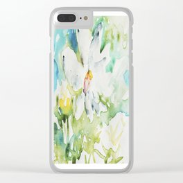 White Daisy Doodle watercolor by CheyAnne Sexton Clear iPhone Case