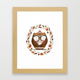 Fall Ready Owl- Illustration Framed Art Print