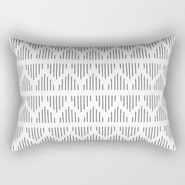 Minimalist Mudcloth 3 Black on White Rectangular Pillow