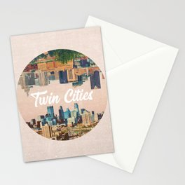 Twin Cities Minneapolis and Saint Paul Minnesota Skylines Stationery Cards