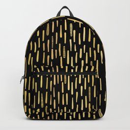 Black Gold Foil Lines Stripes Pattern Seamless Vector Hand Drawn Backpack