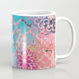 Mixed Media Layered Patterns - Turquoise, Pink & Coral Coffee Mug