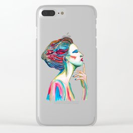 Colorful ink drawing of a women, ink art, girl illustration, modern women art Clear iPhone Case