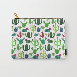 Vibrant Green Cactus Succulent Pattern Carry-All Pouch