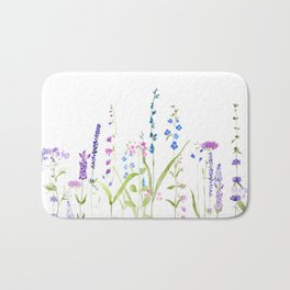 purple blue wild flowers watercolor painting Bath Mat