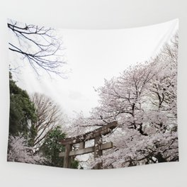 Shrine amongst cherry blossoms in Ueno Park Wall Tapestry