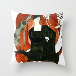 Fashion and Dogs Throw Pillow