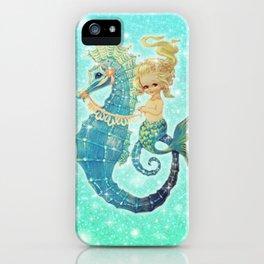 Glitter Mermaid Seahorse iPhone Case
