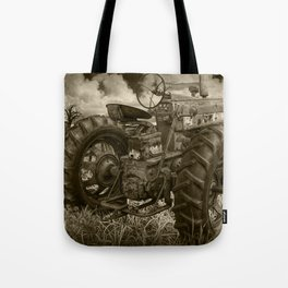 Abandoned Old Farmall Tractor in Sepia Tone Tote Bag